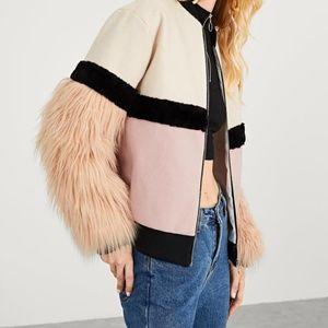 Zip Up Faux Fur Sleeve Plaid Notched Coat